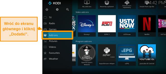 zrzut ekranu jak zainstalować dodatek Kodi innej firmy. Krok 12 kliknij dodatki na ekranie głównym