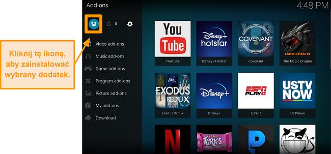 zrzut ekranu jak zainstalować dodatek Kodi innej firmy krok 13 kliknij ikonę pola