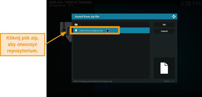 zrzut ekranu jak zainstalować dodatek Kodi innej firmy Krok 16 kliknij plik zip, aby otworzyć repozytorium