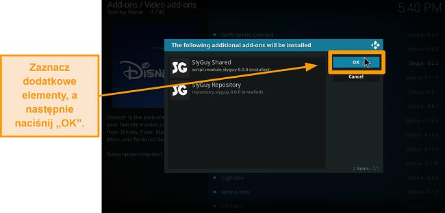 zrzut ekranu, jak zainstalować dodatek do kodi innej firmy. krok 18 kliknij dodatkowe dodatki, a następnie kliknij OK