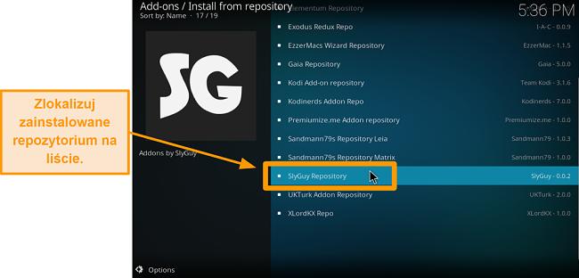 zrzut ekranu jak zainstalować dodatek Kodi innej firmy. Krok 19 znajdź właśnie zainstalowane repozytorium