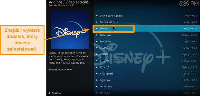 zrzut ekranu jak zainstalować dodatek do kodi innej firmy krok 21 znajdź żądany dodatek