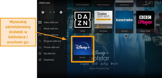 zrzut ekranu jak zainstalować dodatek do kodi innej firmy krok 9 kliknij dwukrotnie pole nazwy znajdź dodatek w bibliotece