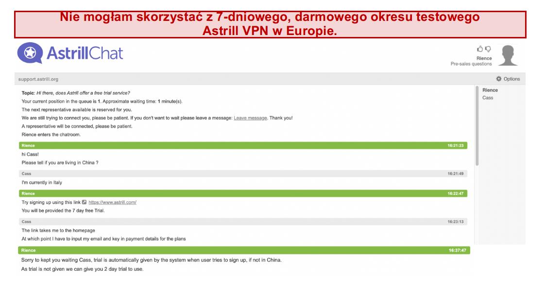 zrzut ekranu rozmowy z zespołem wsparcia Astrill VPN, gdzie 7-dniowy darmowy okres próbny nie jest gwarantowany, nawet jeśli użytkownik jest w Europie