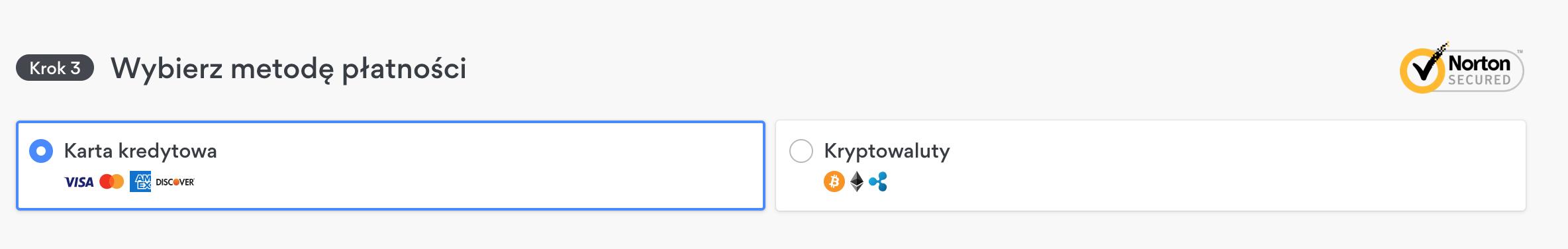 Zrzut ekranu z opcjami płatności dla ukrytych ofert NordVPN