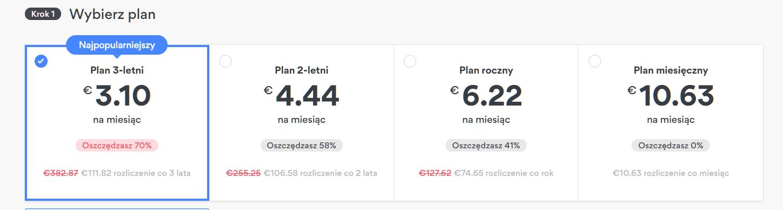 Zrzut ekranu planów płatności NordPVN dla ukrytych ofert