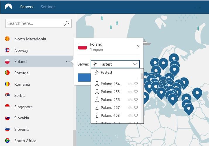 obraz serwerów NordVPN w Polsce