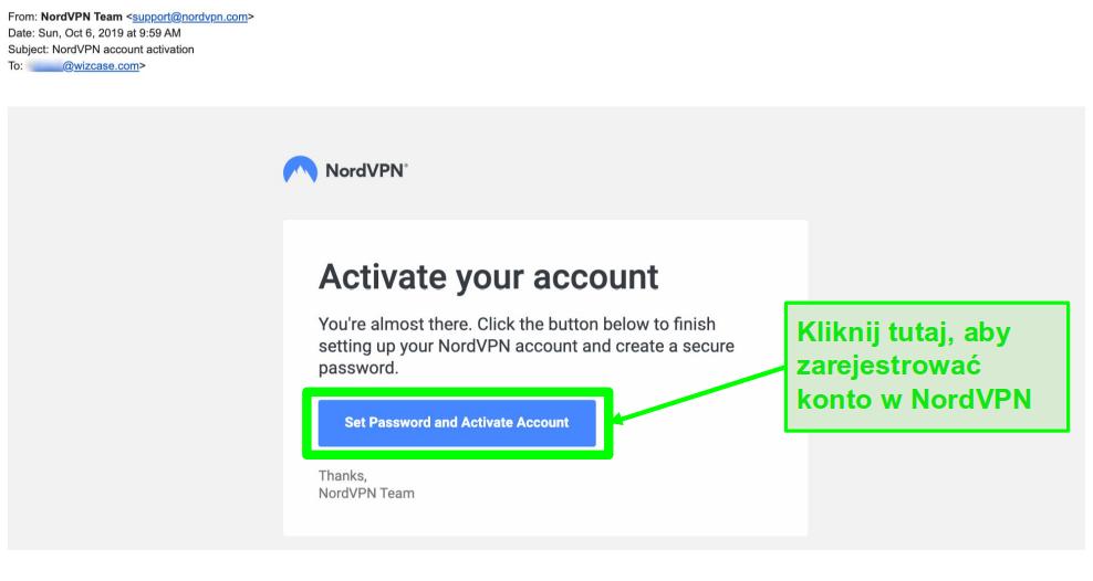 Zrzut ekranu z wiadomości aktywacyjnej konta NordVPN