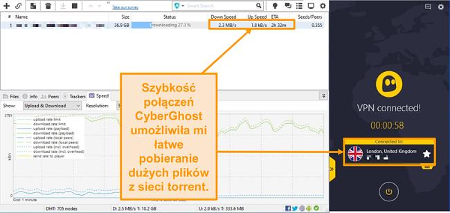 Zrzut ekranu przedstawiający pobieranie pliku torrent