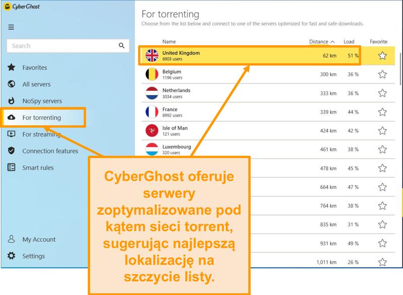 Zrzut ekranu przedstawiający zoptymalizowane serwery CyberGhost p2P