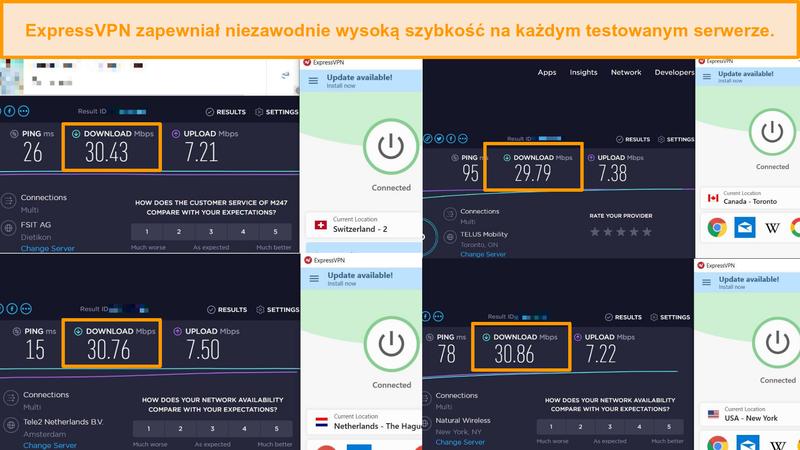 Zrzut ekranu przedstawiający porównanie prędkości między różnymi serwerami ExpressVPN