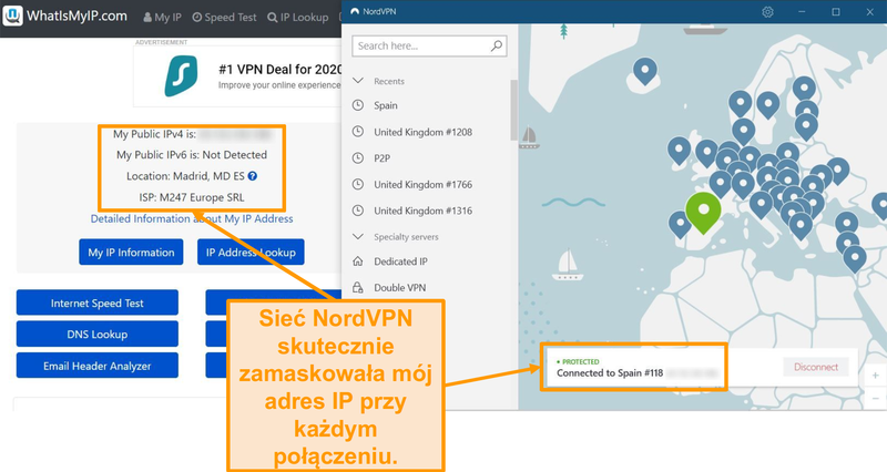 Zrzut ekranu przedstawiający test adresu IP pokazujący, że NordVPN pomyślnie maskuje adresy IP