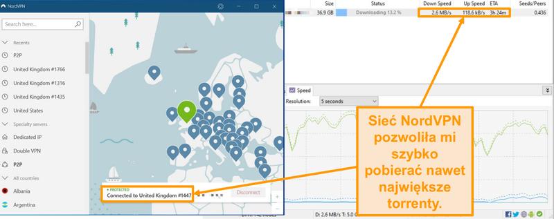 Zrzut ekranu przedstawiający pobieranie pliku torrent po podłączeniu do NordVPN