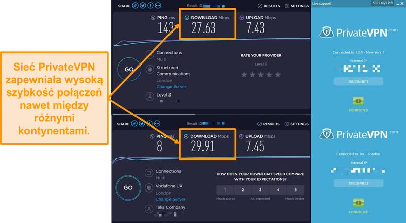 Zrzut ekranu przedstawiający porównanie prędkości PrivateVPN