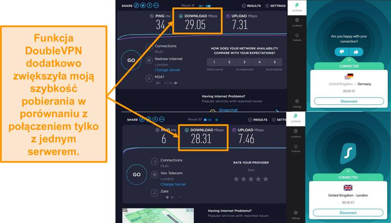 Zrzut ekranu przedstawiający porównanie prędkości Surfshak