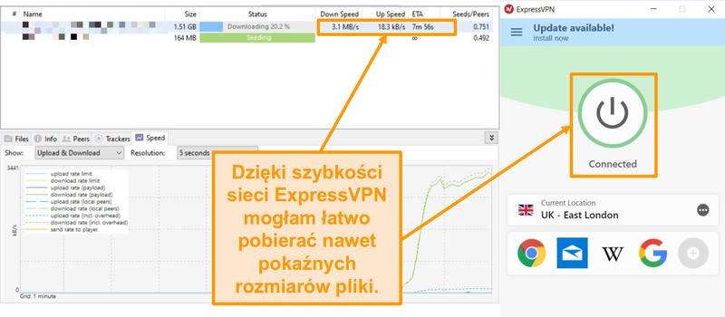 Zrzut ekranu przedstawiający pobieranie plików torrentów z skonfigurowanym połączeniem ExpressVPN