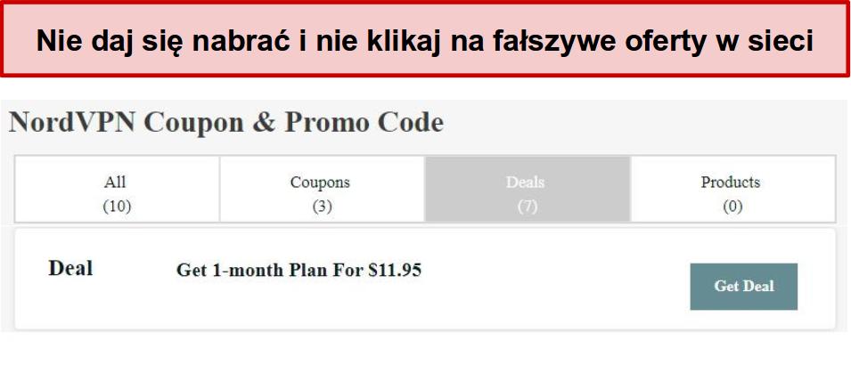 Strona internetowa przedstawiająca fałszywą ofertę rabatową NordVPN