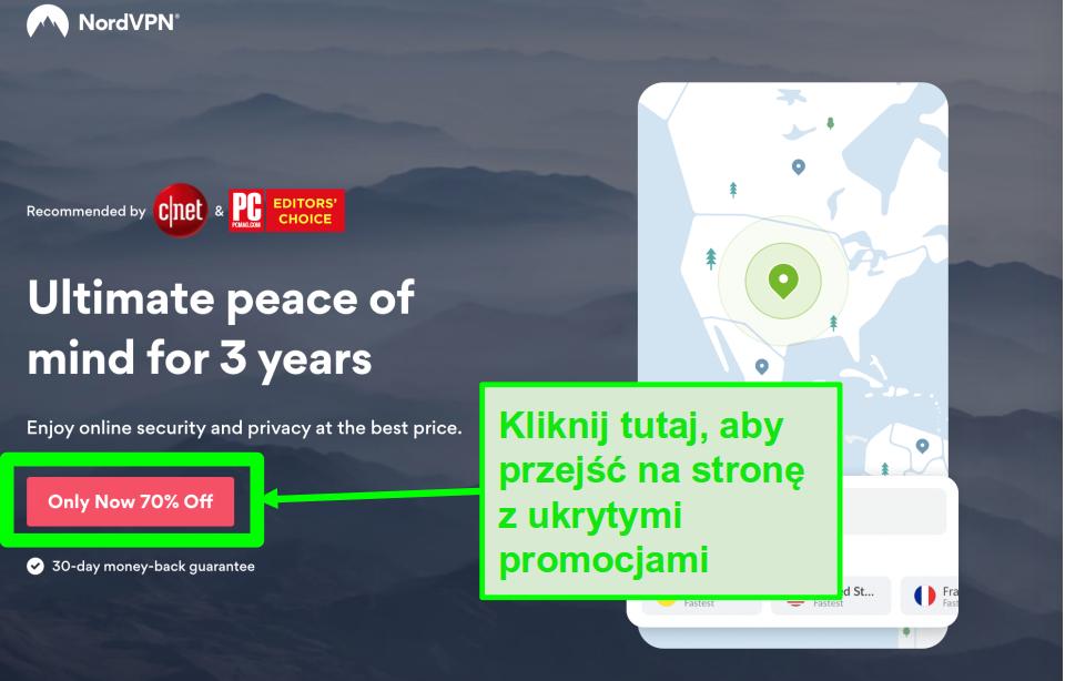 Zrzut ekranu strony ukrytych ofert NordVPN