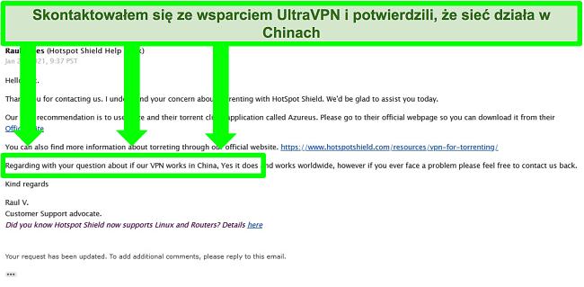 Zrzut ekranu wymiany wiadomości e-mail z obsługą UltraVPN w zakresie torrentów i tego, czy VPN działa w Chinach