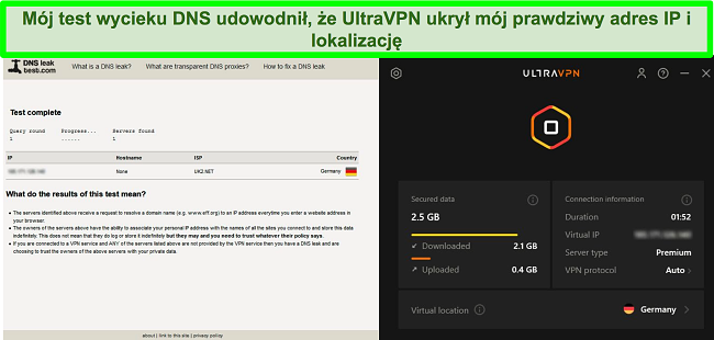 Zrzut ekranu udanego testu szczelności DNS, gdy UltraVPN jest podłączony do serwera w Niemczech