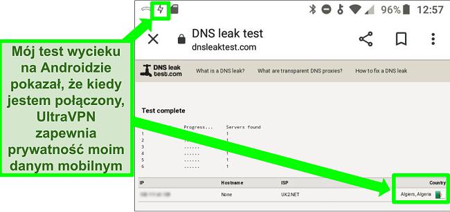 Zrzut ekranu udanego testu szczelności DNS, gdy UltraVPN na Androida jest podłączony do serwera w Algierii