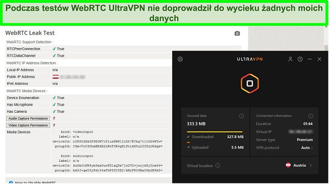 Zrzut ekranu pomyślnego wyniku testu WebRTC, gdy UltraVPN jest podłączony do serwera w Austrii