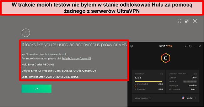 Zrzut ekranu błędu IP proxy Hulu, gdy UltraVPN jest podłączony do serwera w USA