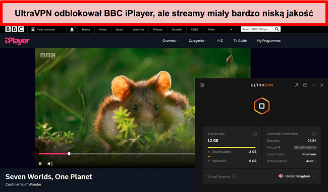 Zrzut ekranu BBC iPlayer odblokowanego przez serwer UltraVNc w Wielkiej Brytanii
