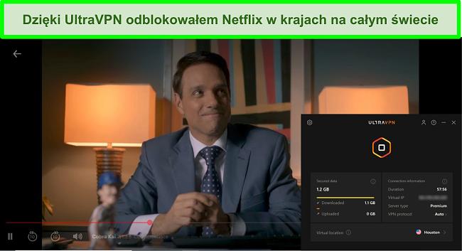 Zrzut ekranu przedstawiający grę Cobra Kai na Netflix, gdy UltraVPN jest podłączony do serwera w Houston