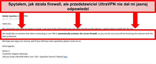 Zrzut ekranu wiadomości e-mail od pomocy technicznej UltraVPN