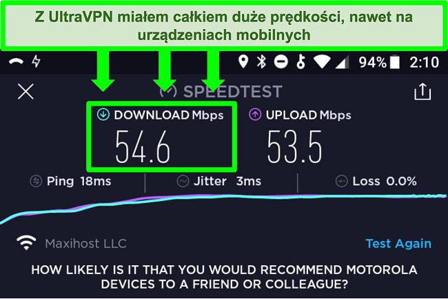 Zrzut ekranu testu szybkości połączenia, gdy UltraVPN jest podłączony na urządzeniu z Androidem