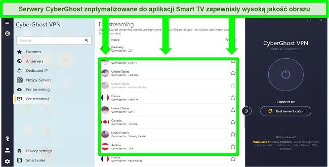 Zrzut ekranu ze specjalnym menu serwera strumieniowego CyberGhost