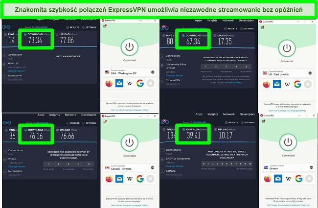 Zrzuty ekranu z 4 testów prędkości podczas połączenia z różnymi serwerami ExpressVPN