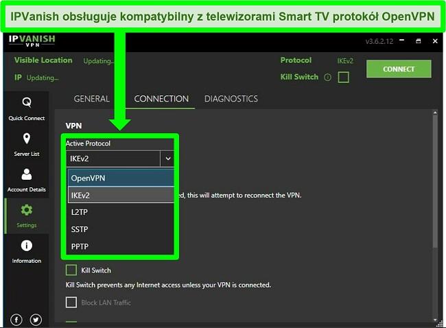 Zrzut ekranu menu protokołu VPN IPVanish na ekranie Ustawienia