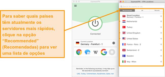 Captura de tela do aplicativo ExpressVPN mostrando os servidores recomendados