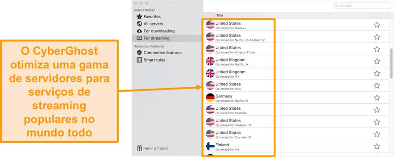 Captura de tela do aplicativo CyberGhost para Mac mostrando os servidores otimizados para streaming