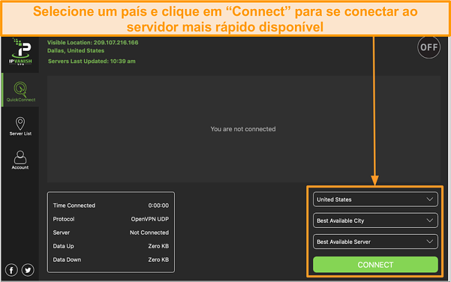Captura de tela da interface do aplicativo IPVanish e da seção