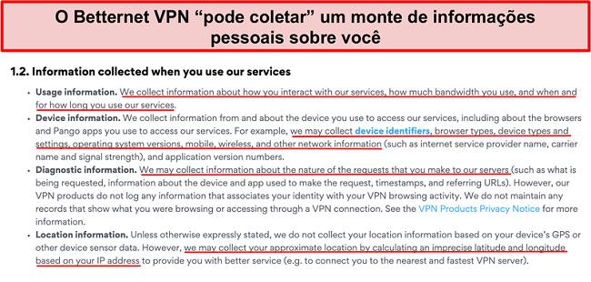 Captura de tela da política de privacidade VPN da Betternet