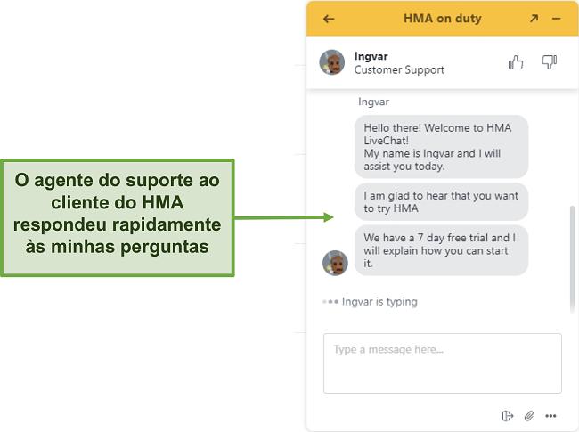 Captura de tela do chat ao vivo do suporte ao cliente da HMA