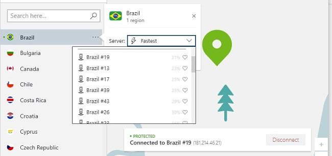 imagem dos servidores NordVPN no Brasil