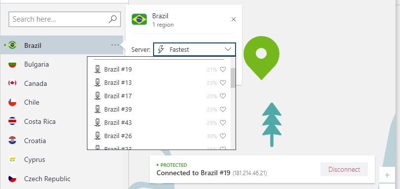 Screenshot of NordVPN's Brazil server options