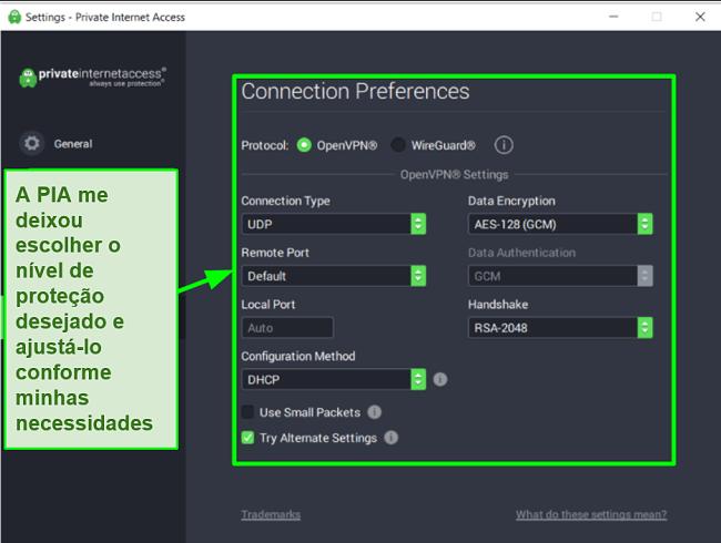 Captura de tela das configurações de segurança PIA disponíveis