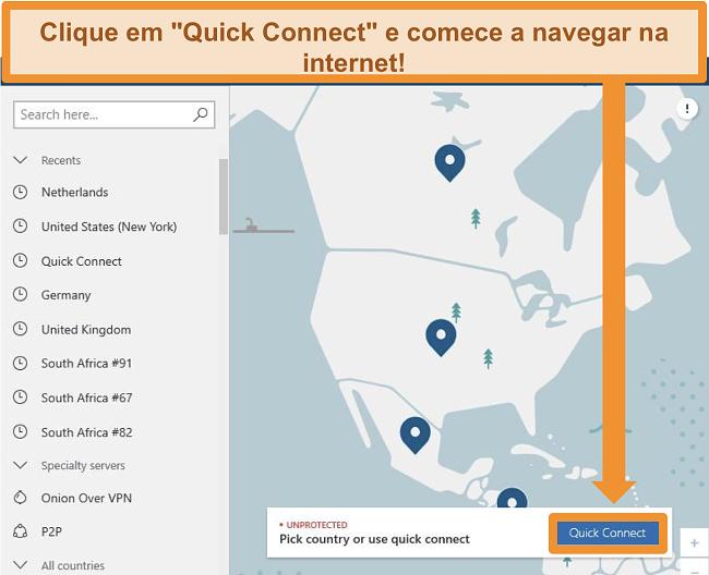 Captura de tela da tela inicial do NordVPN
