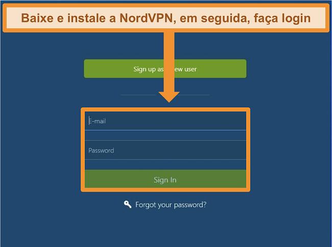 Captura de tela da tela de login no aplicativo NordVPN para Windows