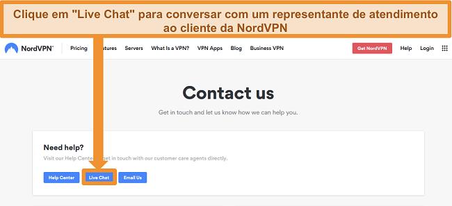 Captura de tela da página NordVPN Contact us mostrando o botão Live Chat