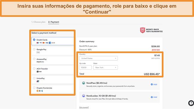Captura de tela das opções de pagamento do NordVPN