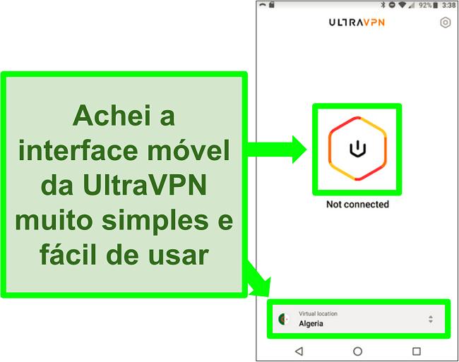 Captura de tela da IU do UltraVPN no Android