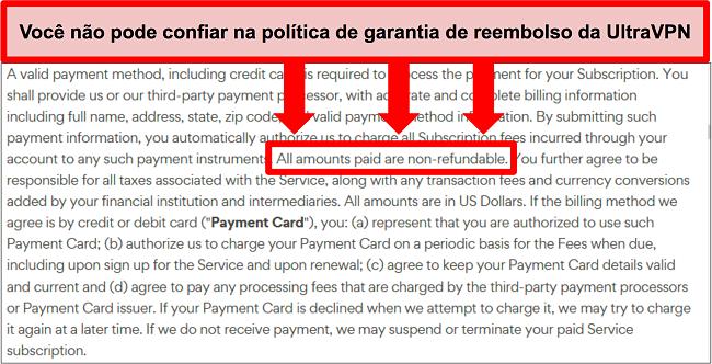 Captura de tela da política de reembolso do UltraVPN informando que os planos não são reembolsáveis