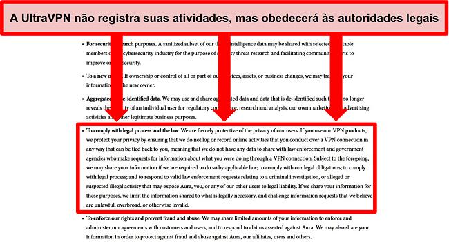 Captura de tela da política de privacidade do UltraVPN