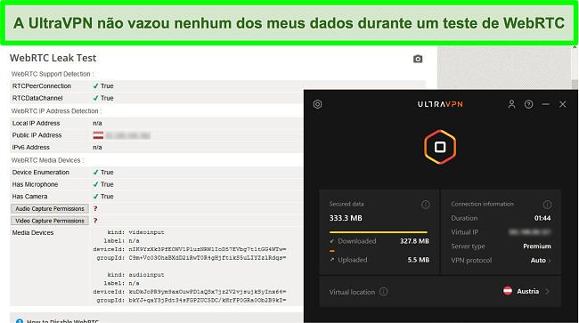 Captura de tela de um resultado de teste WebRTC bem-sucedido enquanto o UltraVPN está conectado a um servidor na Áustria